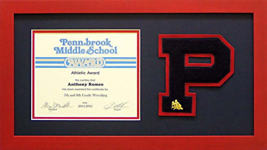 middle school sports award custom frame