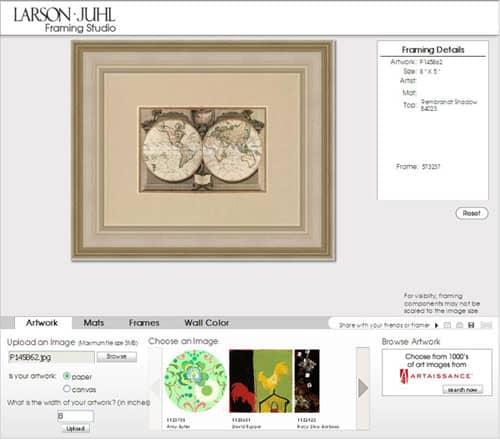 Larson Juhl interactive framing tool