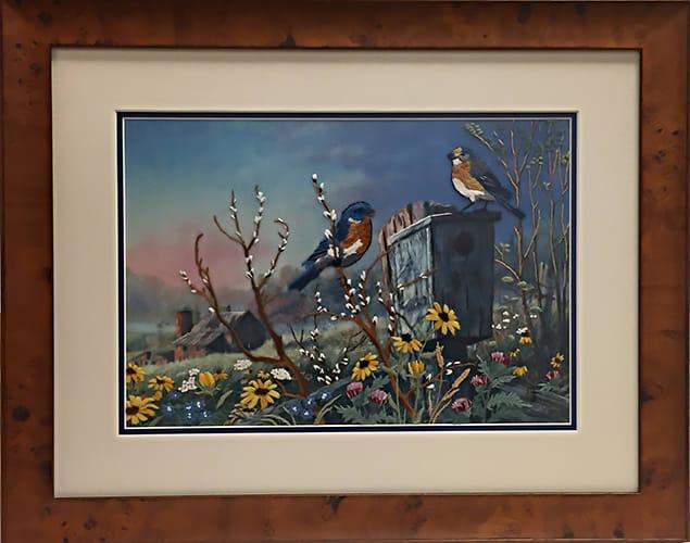 birds outside framed needlepoint