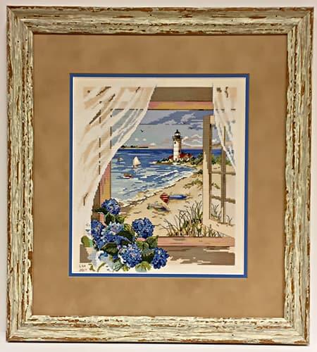 View of ocean framed needlepoint